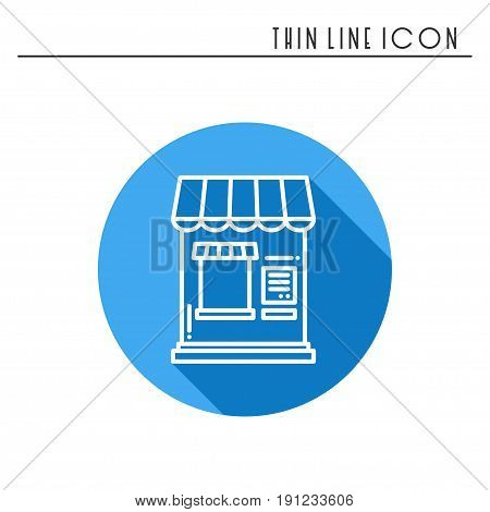 Thin line icons set. Cashbox, ticket window. Food kiosk, trolley, mobile cafe, shop, trade cart. Vector linear icons. Isolated illustration Symbols Object Sale silhouette