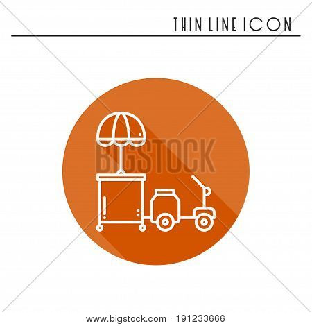 Street food retail thin line icon. Tricycle trade cart. Fast food trolley motorcycle, motorbike. Wheel shop, mobile kiosk, stall. Vector style linear icon. Isolated illustration. Symbols