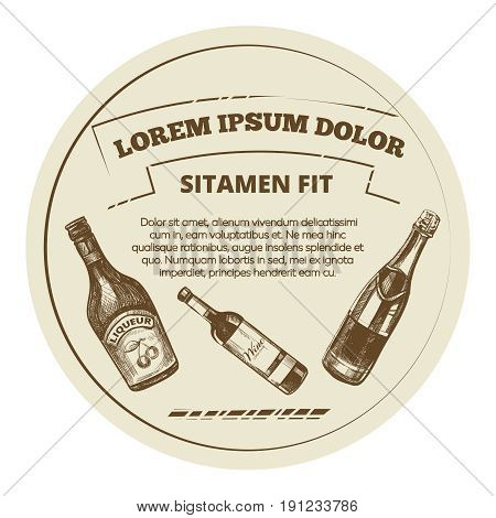 Vintage style banner with alcohol drinks - drinks menu banner design. Vintage artistic card with sketch drinks. Vector illustration