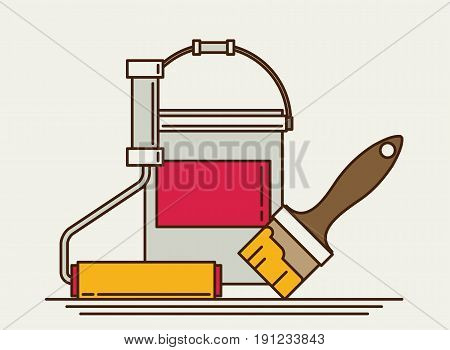Painter instrument for painting flat brush roller paint jar. Eps10 vector illustration.