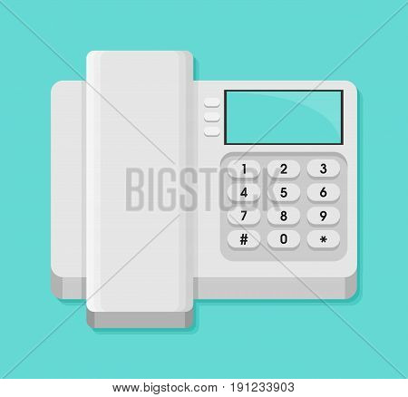 Cordless Phone Vector Flat Icon. Vector Flat Icon Of Phone With Keypad And Display.