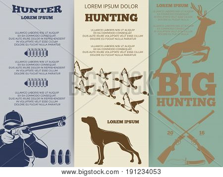 Hunting brochure flyers template design. Card layout hunt banners, vector illustration