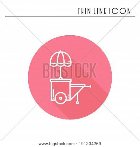 Street food retail thin line icon. Food trolley, truck, kiosk, wheel market stall, mobile cafe, shop, trade cart. Vector linear icon. Isolated illustration. Symbols Object. Fast food sale