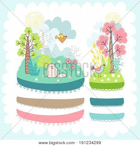 Doodles cute elements, spring theme. Color vector items collection. Illustration with ribbons and borders, cat and birds, trees and flowers. Design for prints and cards.