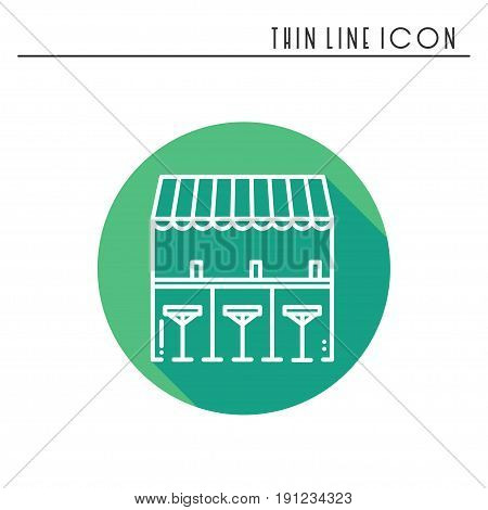 Bar counter with stools thin line icon. Street food retail. Mobile coffee house, bar, shop. Cafe, alcohol drink. Vector linear style icon. Isolated illustration. Symbols. Object silhouette . Sale