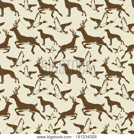 Vintage seamless pattern with ducks, deers and hound. Vector illustration