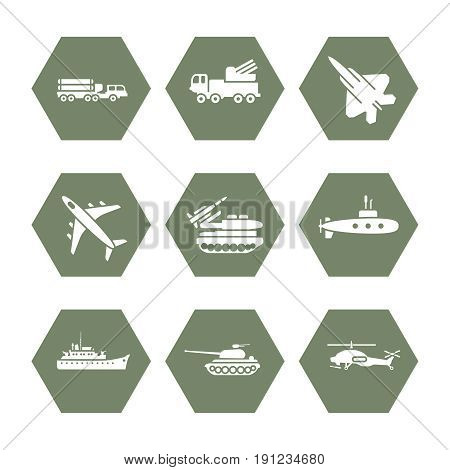 Military transportation icons set - army icons design. Army transport for war, vector illustration