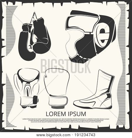 Sport poster with boxing outfit - helmet, gloves and shoes. Vector illustration