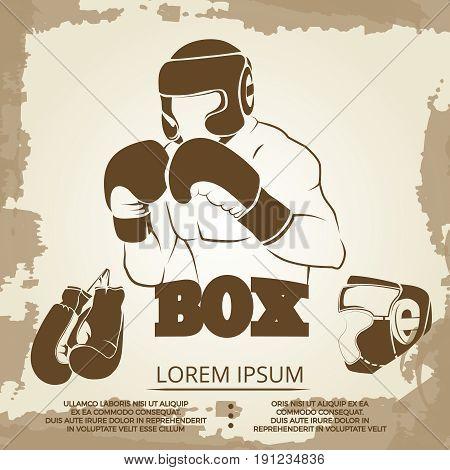 Vintage sport poster design - grunge box banner with athlete, helmet and boxing gloves. Vector illustration