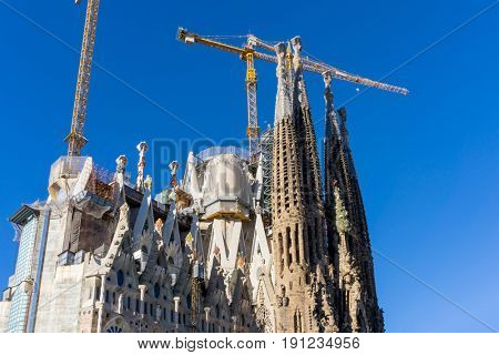 BARCELONA SPAIN - February 9, 2017: Church,Basilica in Barcelona, is the capital city of the autonomous community of Catalonia in the Kingdom of Spain,February 9, 2017 in Barcelona Spain.