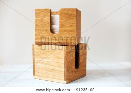 handmade original wooden napkin box on white background