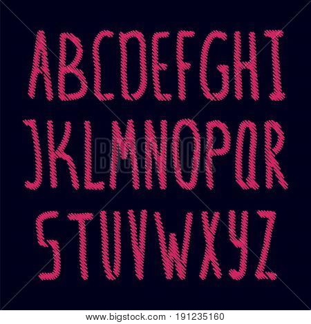 Embroidered english alphabet. Stock vector illustration of pink stiched letters on black background.
