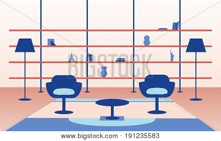 Illustration of modern home interior with table chairs lamps and shelves.