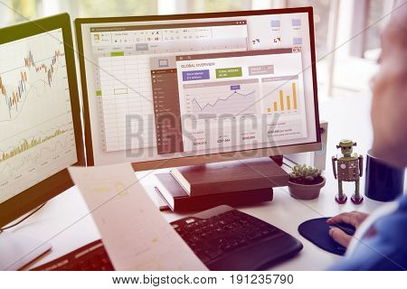 Businessman Working Graph Spreadsheet White Table