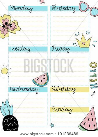 Weekly summer planner template. Page for diary design. Organizer with place for notes. Vector illustration with decor elements.