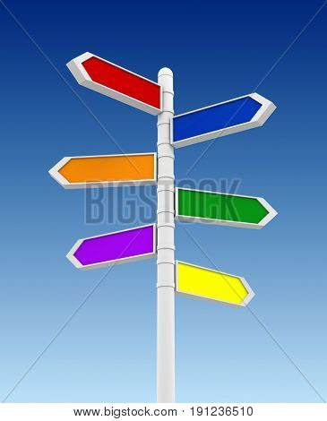 Coloured Blank Signpost 3D Illustration