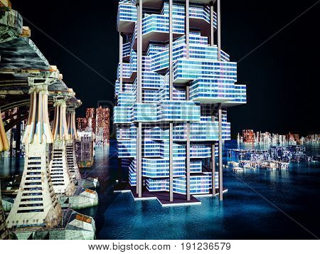 futuristic city with the modern skyscraper 3D rendering