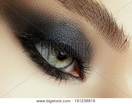Beautiful Macro Shot Of Female Eye With Extreme Long Eyelashes And Smoky Makeup. Perfect Eyebrows An