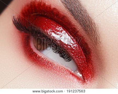 Beautiful Macro Shot Of Female Eye With Extreme Long Eyelashes And Colorful Creative Artistic Makeup