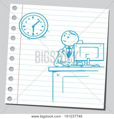 Businessman at office looking at clock