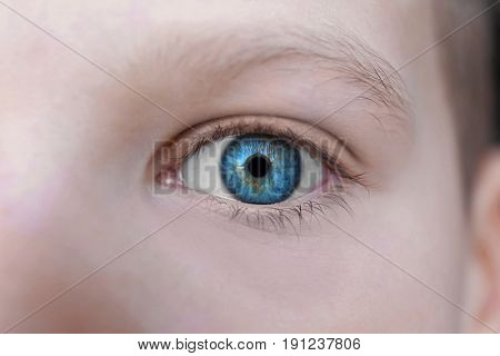 Face of cute boy, closeup. Ophthalmology concept