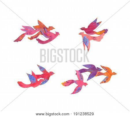 Paper craft watercolor colorful tropical birds, set of bird groups on white