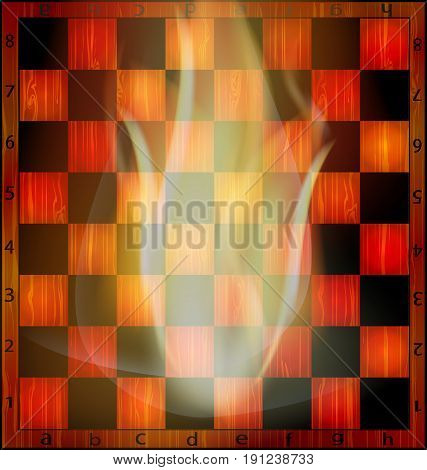 abstract empty wooden chessboard and fire inside