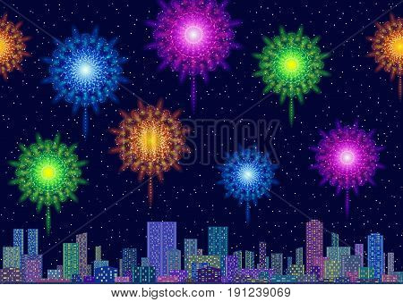 Horizontal Seamless Landscape, Holiday Urban Tile Background, Night City with Skyscrapers and Fireworks in Starry Sky. Eps10, Contains Transparencies. Vector