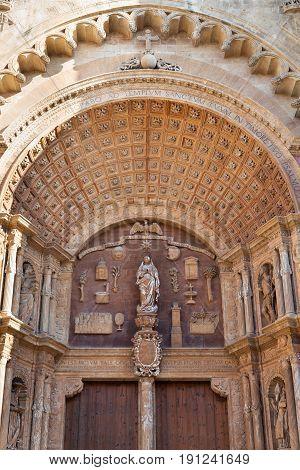 Close-up of a Catholic Gothic church Mallorca Spain.