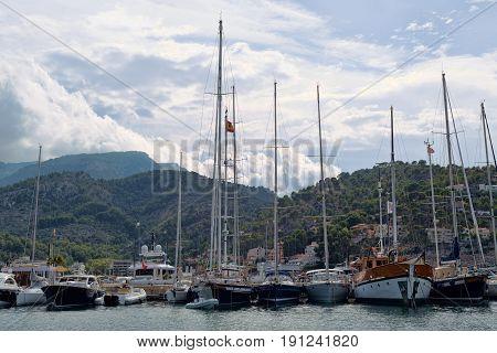 Port in the town of Sóller Palma de Mallorca.