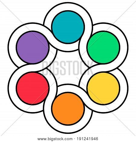 logo palette of colors, the interweaving of the circuits of the spinner, vector infographics template