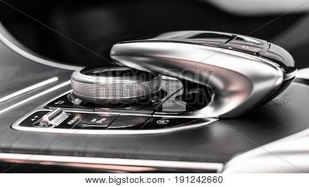 Luxury Car Dashboard Control Buttons.Modern car details.