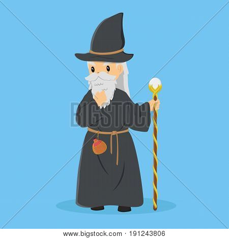 A long bearded wizard wearing hat and robe, holding a staff and bottle of potion tied to his waist