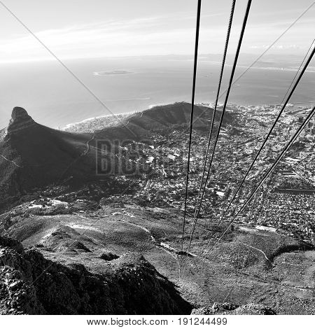 In South Africa Cape Town City Skyline From  Mountain