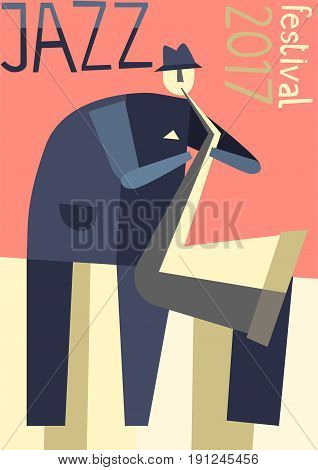 Poster for jazz music festival or concert. Vector illustration.