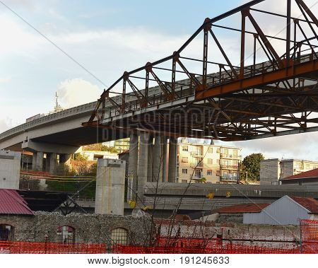 Fragment view of the road viaduct under construction