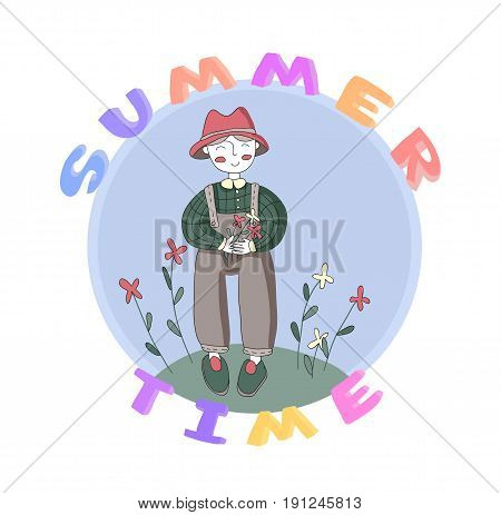 Cute cartoon gardener character and the flowers, vector illustration in simple style. Isolated on white background.