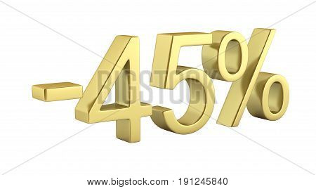 Gold Text 45 Percent Off On White Background Without Shadow 3D Render
