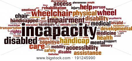 Incapacity word cloud concept. Vector illustration on white