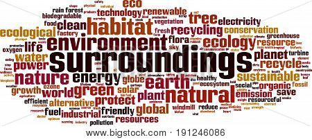 Surroundings word cloud concept. Vector illustration on white