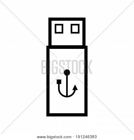Simple thin line usb drive icon vector