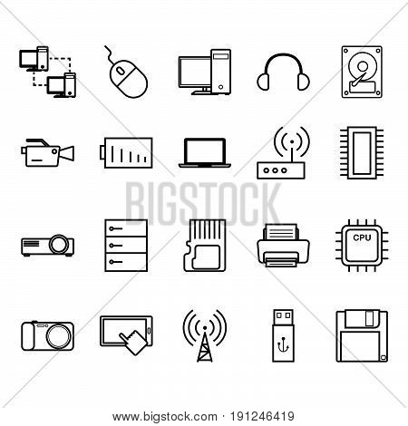 Collection of technology  set art icon vector