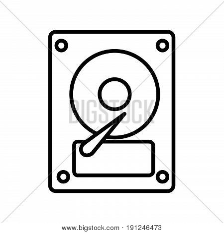 Simple thin line hard disk icon vector