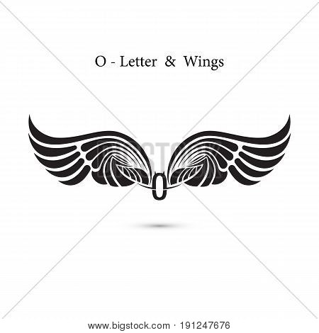 O-letter sign and angel wings.Monogram wing logo mockup.Classic emblem.Elegant dynamic alphabet letters with wings.Creative design element.Corporate branding identity.Flat web design wings icon.Vector illustration.