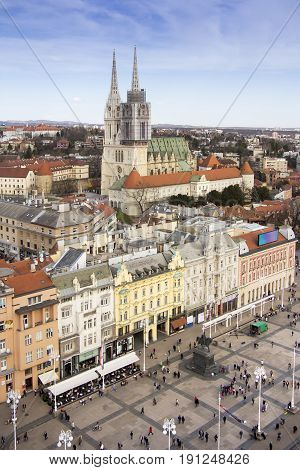 Aerial view at Ban Jelacic Square in Zagreb capital town of Croatia