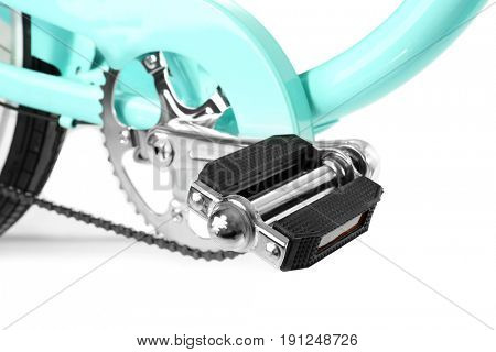 Treadle of modern bicycle on white background, closeup