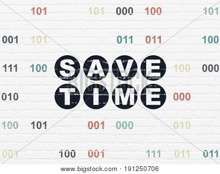 Time concept: Painted black text Save Time on White Brick wall background with Binary Code