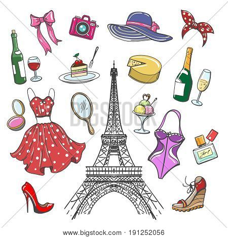 Colorful paris fashion sketch collection. Woman hand drawn fashionable accessories for girls travel and shopping isolated on white background. Vector illustration