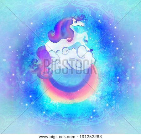 Card with a cute unicorn rainbow in the clouds , raster