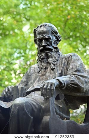 Moscow Russia - September 15 2015: Monument to Russian writer Lev Tolstoy on Povarskaya Street in Moscow.